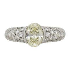 1.35 Carat Oval-Shape Diamond Platinum Ring