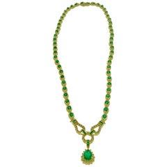 13.5 Carat Pear Shape Emerald and 1 Carat Diamond Necklace in 14 Karat Gold