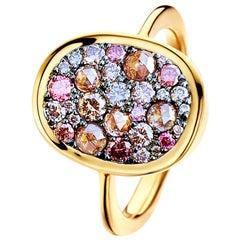 1.35 Carat Pink, Fancy Chocolate Pink Brownish Pink Diamond Pave Ring