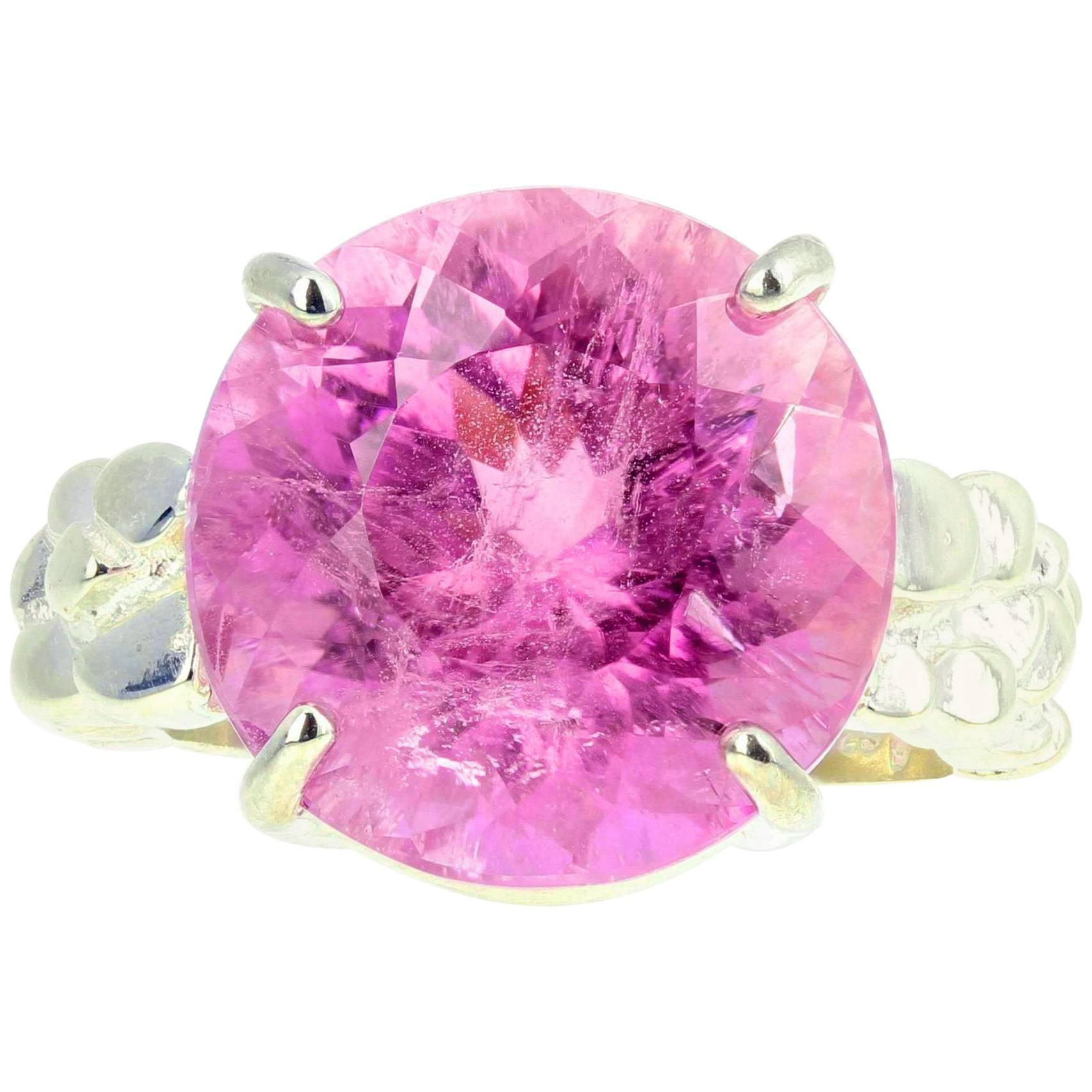 Gemjunky Extraordinary Sparkling 13.5Ct BrightPinky Kunzite Silver Cocktail Ring