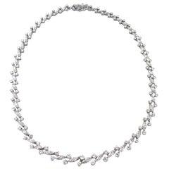 13.5 Carat Platinum Marquise and Brilliant Round-Cut Diamond Necklace