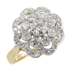 1.35 Carat Round Diamond Cluster Engagement Wedding Platinum Yellow Gold