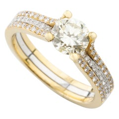 1.35 Carat Round Diamond Two-Tone 18 Karat Gold Solitaire Engagement Ring