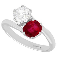 1.35 Carat Ruby and Diamond White Gold Twist Ring French Antique Circa 1920