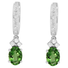 1.35 Carat Green Oval Tourmaline and White Diamond Drop Earrings 14K White Gold