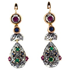 1.35 Carat White Diamond Emerald Ruby Sapphire Yellow Gold Lever-Back Earrings