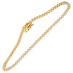 1.35 Carat Yellow Gold Diamond Tennis Bracelet