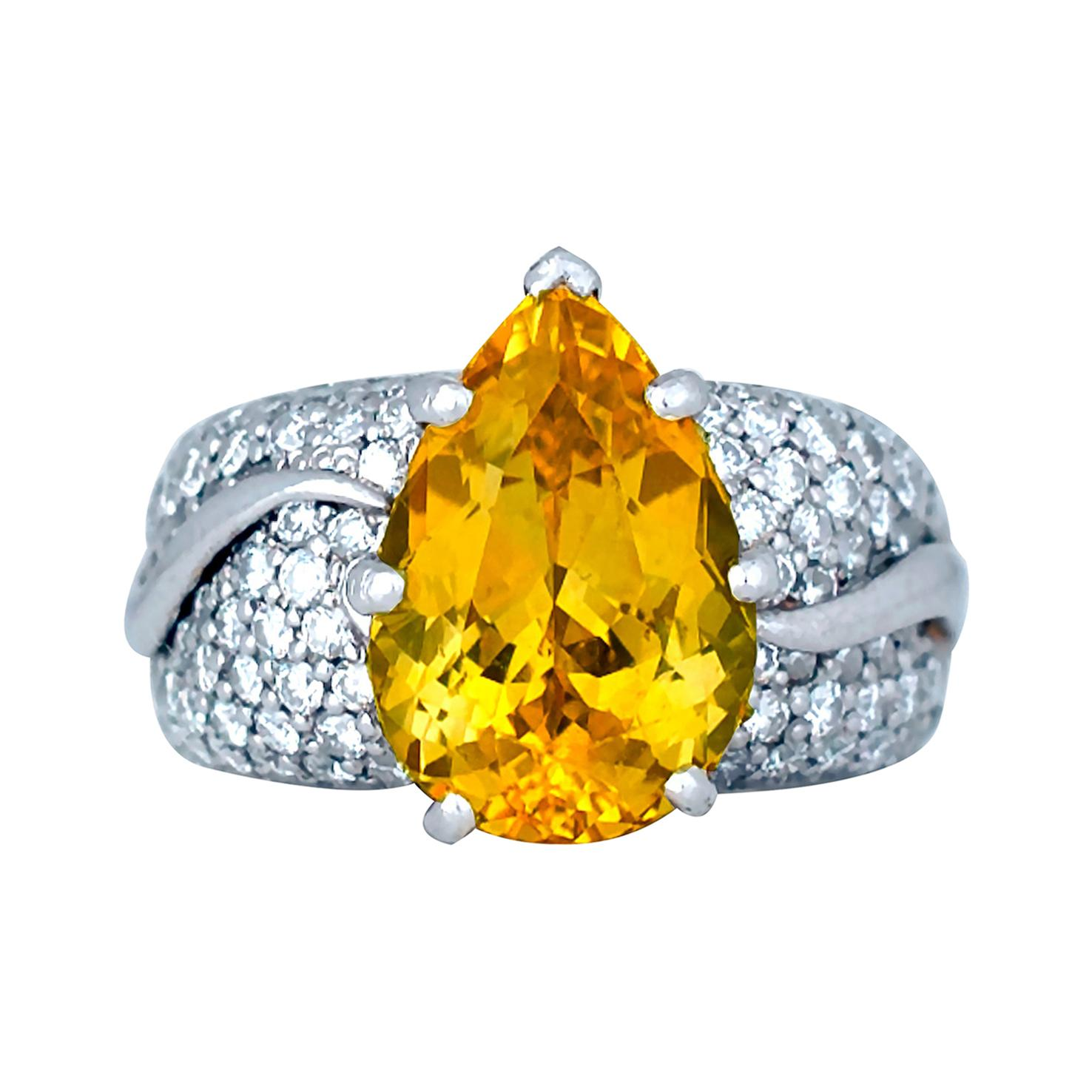 13.5 Carat Yellow Sapphire and Diamond 18 Karat Ring