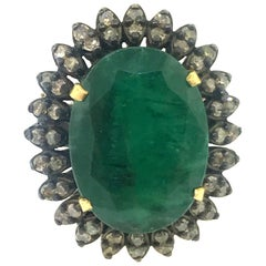 13.50 Carat Emerald, Diamond Ring in Oxidized Sterling Silver, 18 Karat Gold