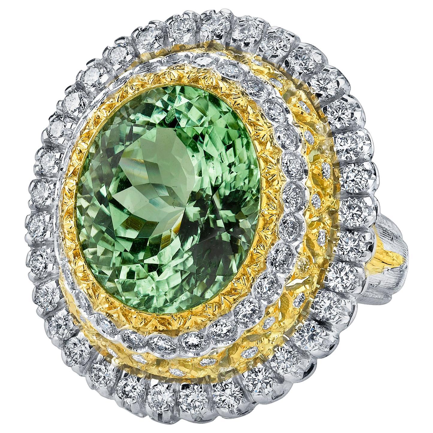 13.52 Ct. Green Tourmaline, Diamond, Handmade White, Yellow Gold Cocktail Ring