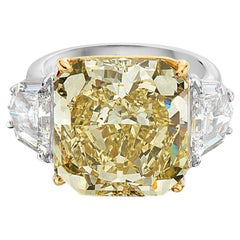 13.53 Carat Fancy Yellow Diamond and 18 Karat White and Yellow Gold Ring