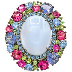 13.53 Carat Moonstone Multicolored Gemstones Ring
