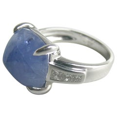 13.53 Carat Sugar Loaf Blue Sapphire, 18 Karat White Gold and Diamond Men's Ring