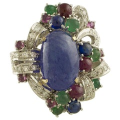 13.53 ct Tanzanite White Diamonds Rubies Sapphires Emeralds White Rose Gold Ring