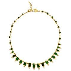 13.54 Carat Emerald Art Deco Mosaic Statement Coomi Necklace