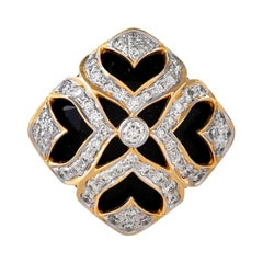 13.54 Carats Black Onyx Briolette and Diamond 18 Karat Yellow Gold Ring