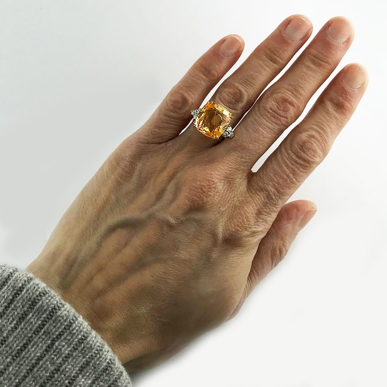 13.55 Carat Cushion Cut Certified Untreated Orange Sapphire Ring For Sale 5