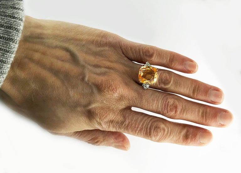 13.55 Carat Cushion Cut Certified Untreated Orange Sapphire Ring For Sale 6
