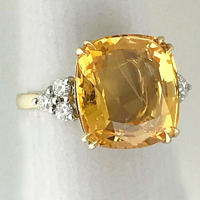 Modern 13.55 Carat Cushion Cut Certified Untreated Orange Sapphire Ring For Sale
