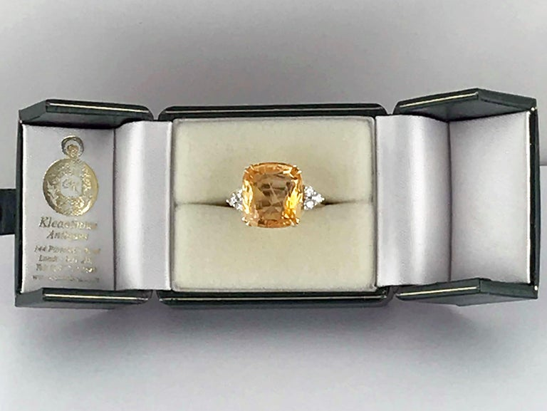 13.55 Carat Cushion Cut Certified Untreated Orange Sapphire Ring For Sale 1