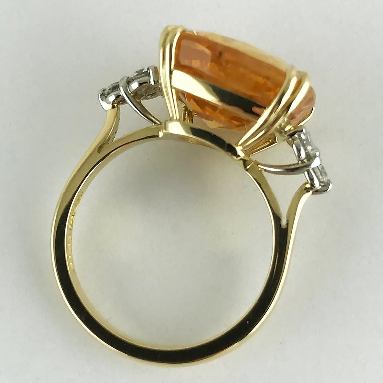 13.55 Carat Cushion Cut Certified Untreated Orange Sapphire Ring For Sale 3