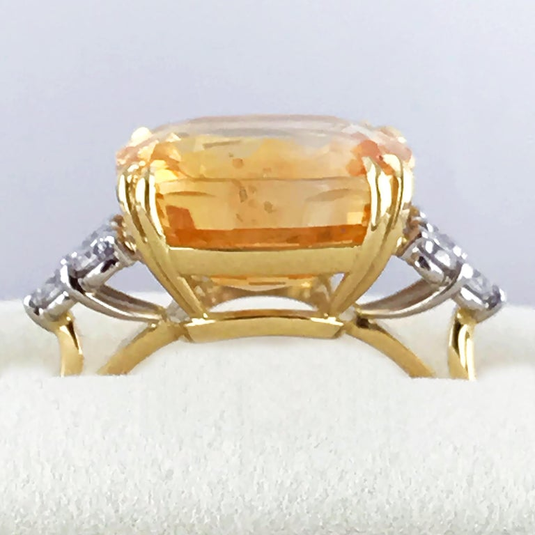 13.55 Carat Cushion Cut Certified Untreated Orange Sapphire Ring For Sale 4