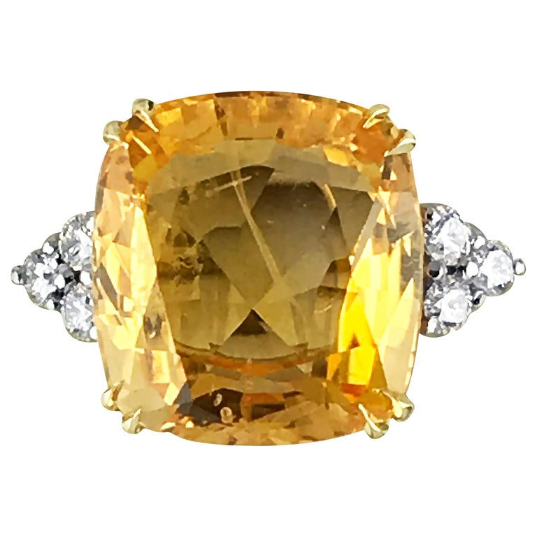 13.55 Carat Cushion Cut Certified Untreated Orange Sapphire Ring For Sale