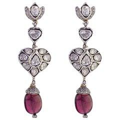 13.55 Carat Tourmaline Rosecut Diamond Earrings