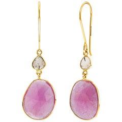 13.55 Carats Rose Cut Ruby Diamond 18 Karat Yellow Gold Tresor Artisan Earrings