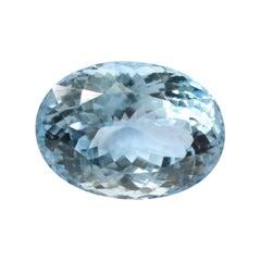 13.56 Carat Aquamarine Oval-Cut Unset Loose 3-Stone Ring Gemstone