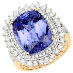 13.57 Carat Tanzanite and Diamond 18 Karat Yellow Gold Cocktail Ring