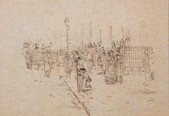 Le Dimanche Pres de St Philippe du Roule - Work on paper,  19th Century