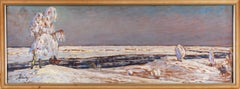 Cavaliers in Snowy Landscape - Oil painting, Polish Impressionism, Late 19th