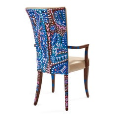Individual dining chair, cream leather seat, bespoke Art on back, interior