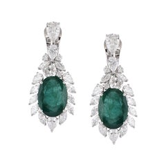 Laviere 13.59 Carat Emerald and Diamond Earrings