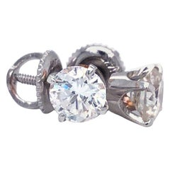 1.35ct 4-Prong Basket Diamond Stud Earrings 14 Karat White Gold 'H-I, SI2-SI3'