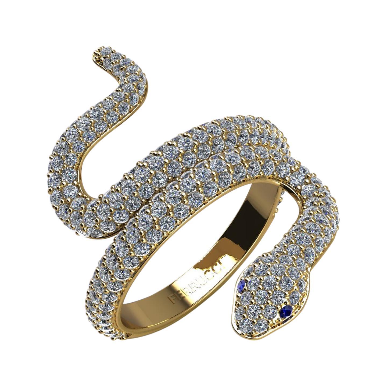 1.35ct Diamond Snake 14k Yellow Gold Nature Life Ring