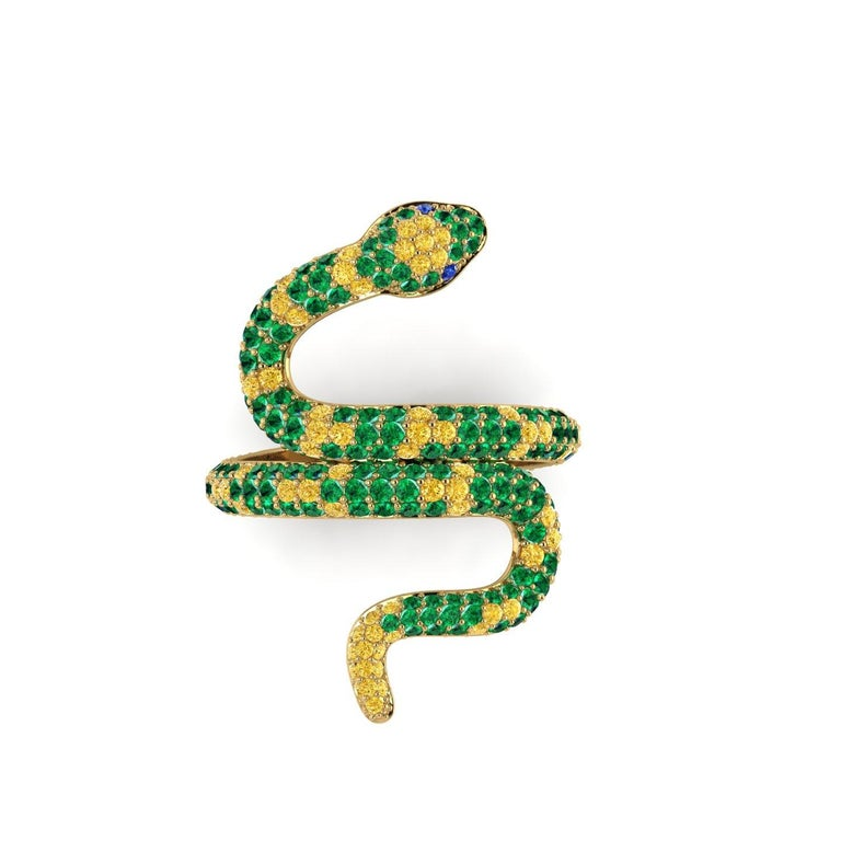 Modern 1.35ct Green Emeralds Yellow and Blue Sapphires Pave' Snake 14k Yellow Gold Ring For Sale