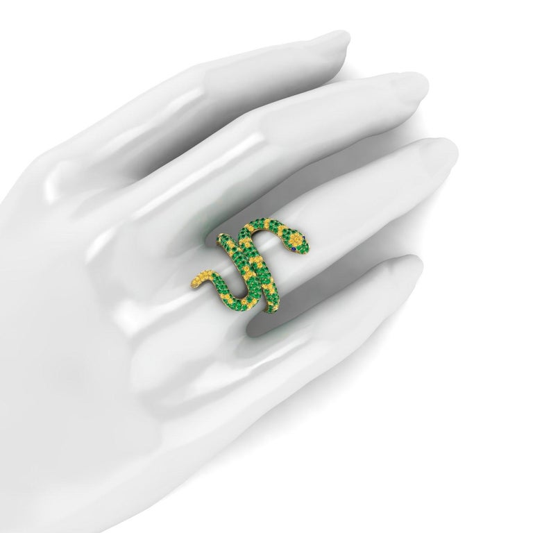 Women's 1.35ct Green Emeralds Yellow and Blue Sapphires Pave' Snake 14k Yellow Gold Ring For Sale