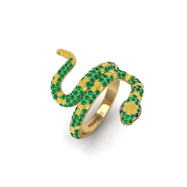 1.35ct Green Emeralds Yellow and Blue Sapphires Pave' Snake 14k Yellow Gold Ring For Sale 1
