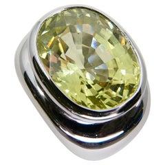 13.5ct Green Kunzite Statement Cocktail Ring, Men's Pinky Ring, N.O.S