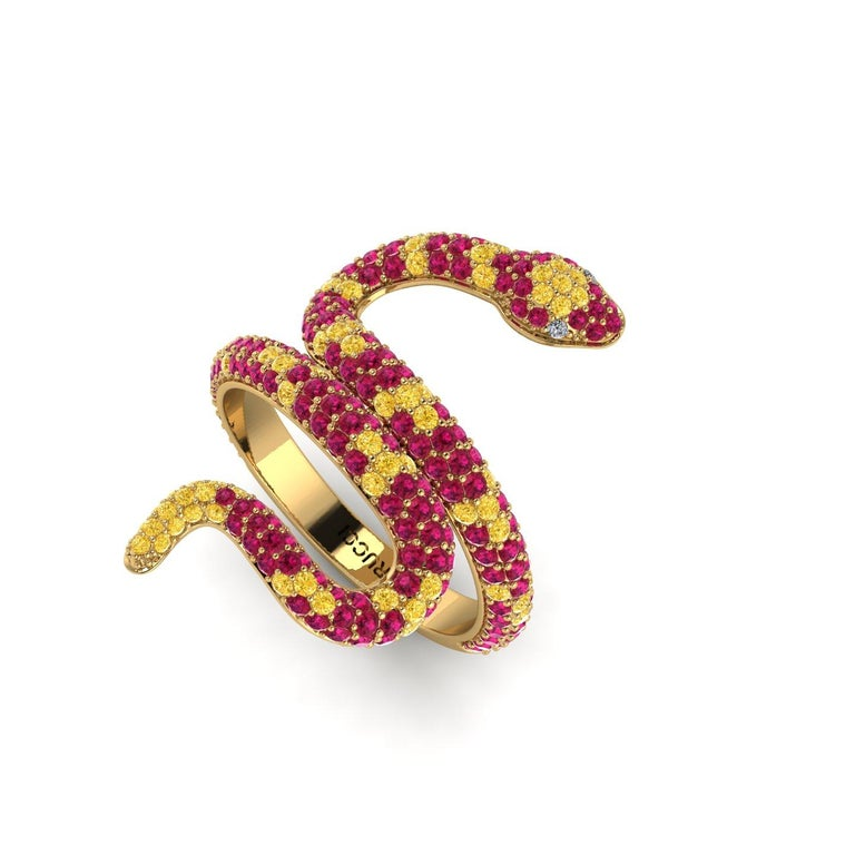 Ruby Pave' Snake 18k Yellow Gold Ring, with Yellow Sapphires, hand picked, totalling approximately 1.35 carats, made in 18k Yellow gold  with green emeralds as eyes.  You can create your own custom combination of color gemstones. Made to order in