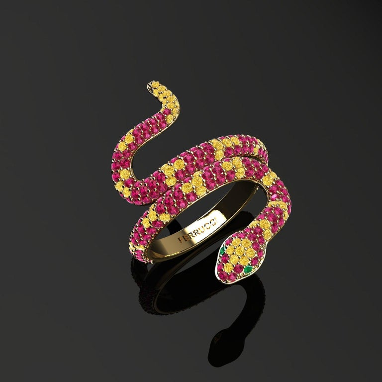 Round Cut 1.35ct Ruby and Yellow Sapphires Pave' Snake Diamonds 18k Yellow Gold Ring For Sale