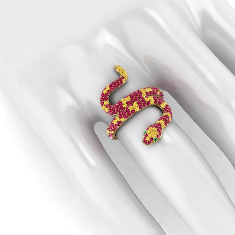 Women's 1.35ct Ruby and Yellow Sapphires Pave' Snake Diamonds 18k Yellow Gold Ring For Sale