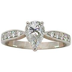 1.36 Carat 18 Karat White Gold Pear Shape Diamond Engagement Ring