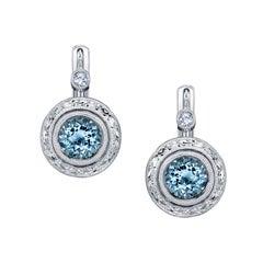 1.36 Carat Aquamarine and Diamond 18 Karat White Gold Lever-Back Earrings