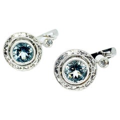 1.36 Carat Aquamarine and Diamond 18 Karat White Gold Earrings