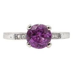 1.36 Carat Art Deco Pink Sapphire Diamond Wedding Platinum Ring EGL, USA