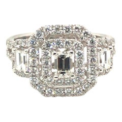 1.36 Carat Cluster Style Round and Baguette Diamond Ring with 14 Karat Gold