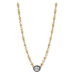 1.36 Carat Cushion Cut Diamond Set on a Handcrafted 18 Karat Yellow Gold Chain
